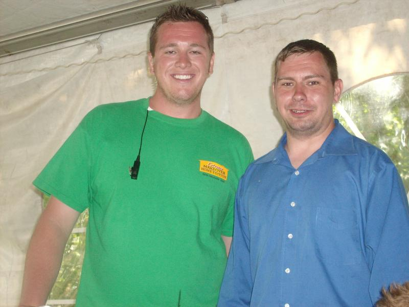 Dan Bush on the set of extreme makeover with producer Andy Mcentee
